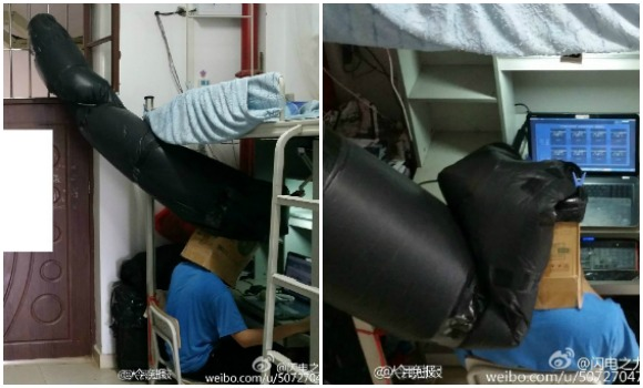 Chinese student goes to ridiculous lengths to breathe clean air in dorm full of smokers 【Pics】