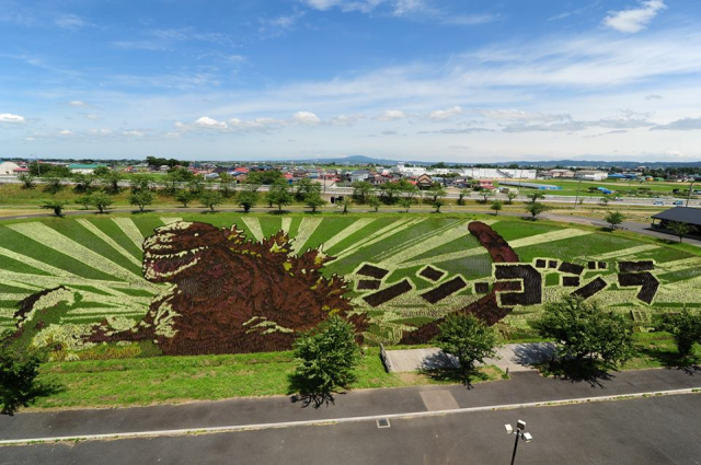 Godzilla appears in northern Japan as awesome rice paddy art 【Photos】