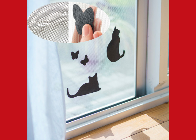 Fix holes made by cats on screen doors and windows with cute new patches from Felissimo