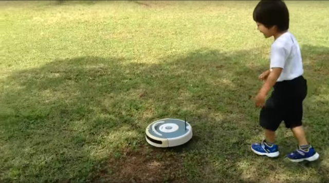 Roomba relishes freedom while zipping at ridiculous speeds across a park