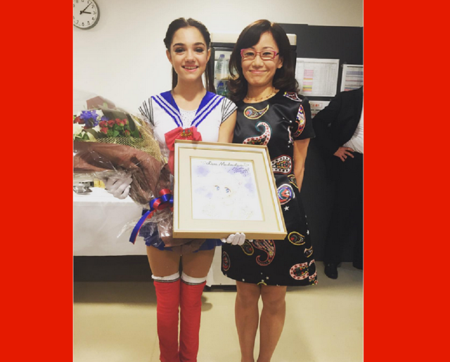 Russian figure skating champion who loves Sailor Moon wows Japanese fans, then meets author