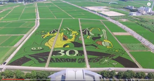 Dragon Quest celebrates anniversary with enormous rice paddy art in Gyoda, Japan【Video】