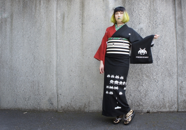 Tokyo designer's DIY Space Invaders kimono is retro fashion in more ways than one