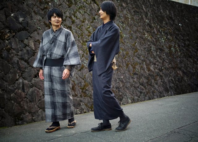 Japanese designer of samurai chino pants extends range with beautiful tweed kimono for men