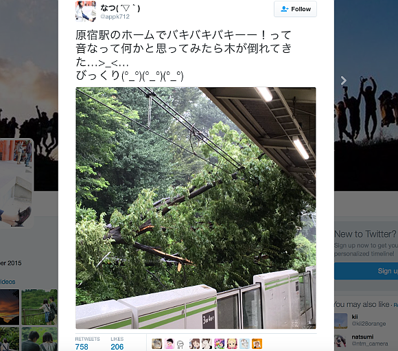 Dramatic scenes at Harajuku Station as Typhoon Mindulle makes landfall in Japan
