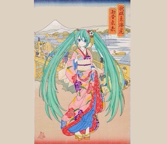 Ukiyo-e woodblock print of vocaloid Hatsune Miku in Edo-period Japan sells out immediately online