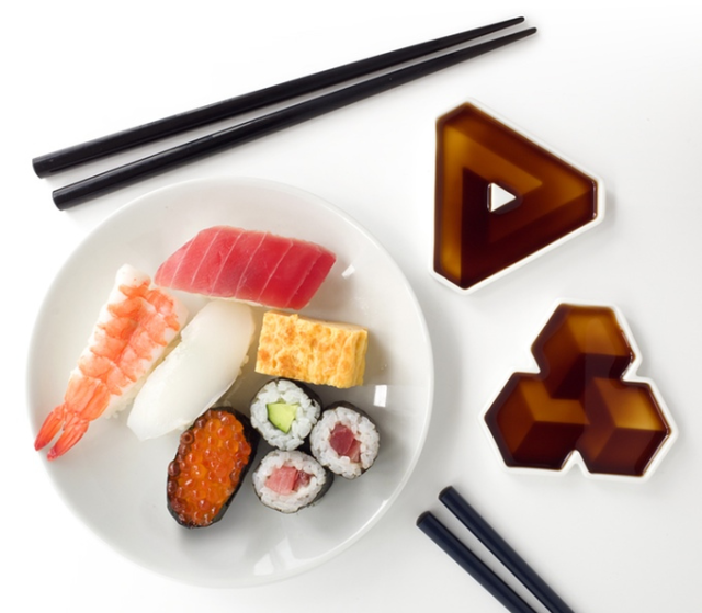 Soy Shape saucers add a third dimension to your sushi experience