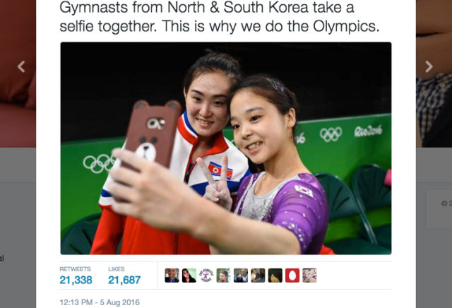 Selfie love shown between South and North Korean gymnasts