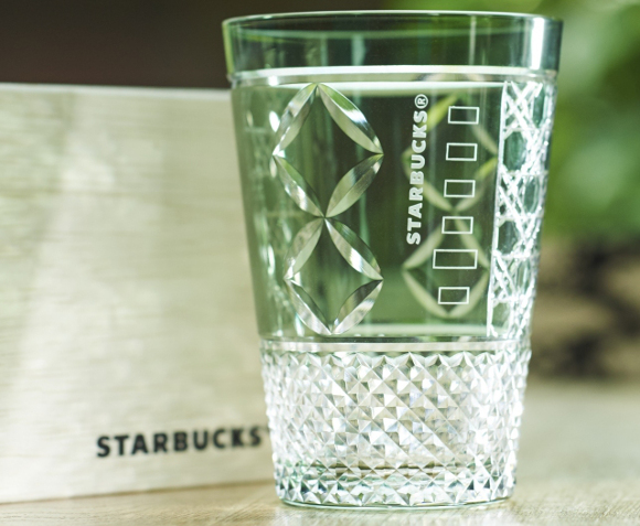 Exclusive Starbucks iced coffee glass handmade in Japan according to ancient Edo tradition