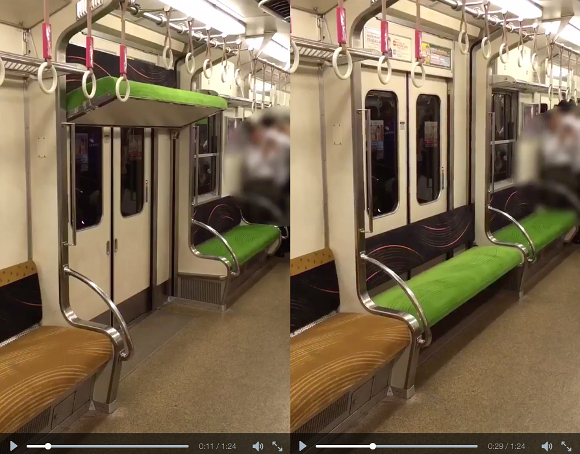 Seats descend from ceiling on Japanese train to provide extra comfort for passengers【Video】
