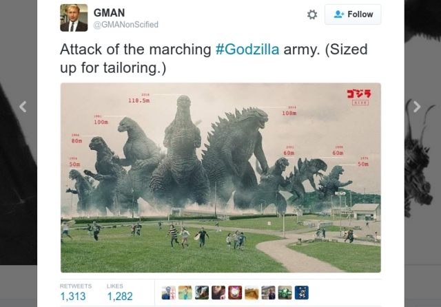 Image of Godzilla designs past and present show newest Japanese film's monster is the tallest yet