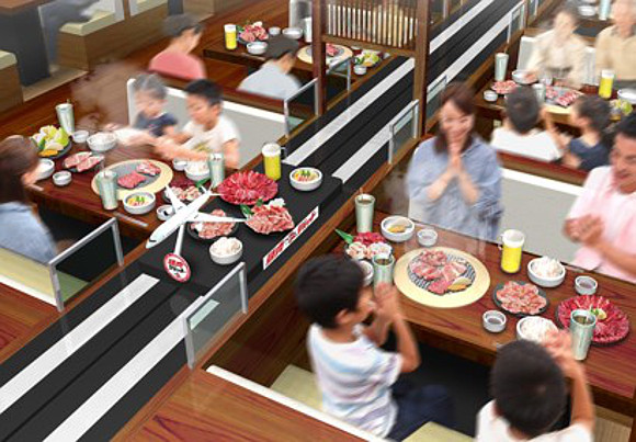 New Japanese Yakiniku Jet restaurant serves meat by conveyor belt on a high speed lane