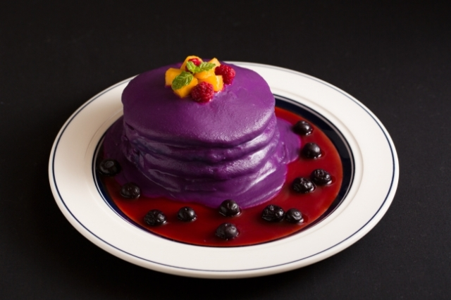 Japanese cafe chain serves up purple pancakes for Halloween