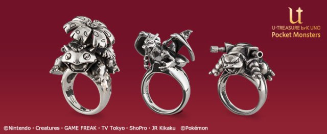 New Japanese Pokémon rings feature silver Venusaur, Blastoise and Charizard designs