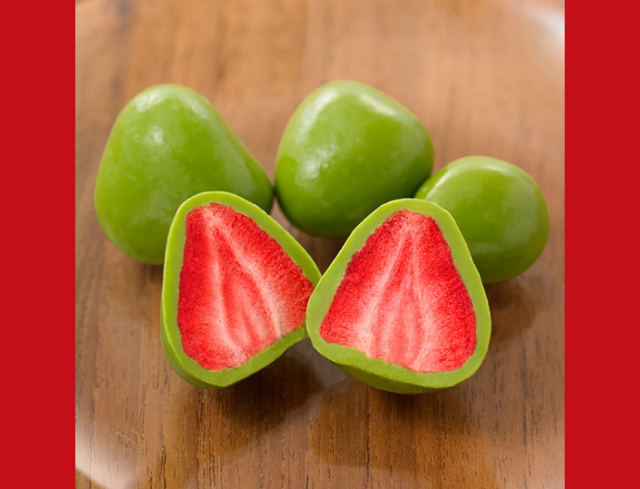 Mouth-watering green tea-covered strawberries about to go on sale at Japan's Mujirushi Ryohin