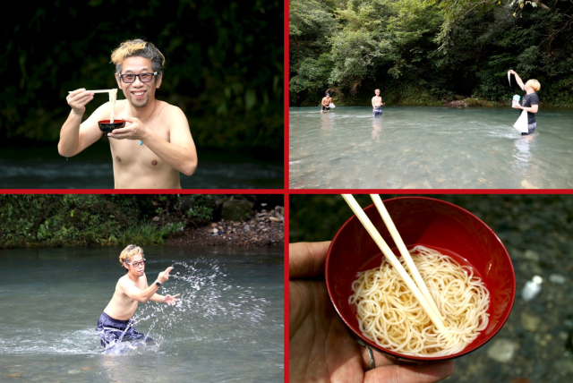 Why's Mr. Sato in a river with his shirt off? To eat delicious Japanese noodles, of course!【Vid】