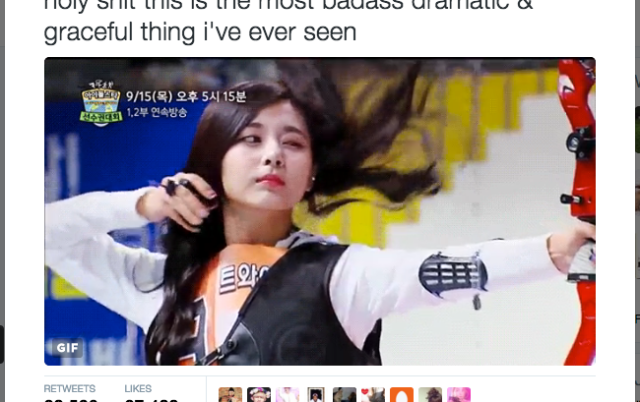 K-pop idol scores sassiest hairflip while shooting an arrow【GIF】