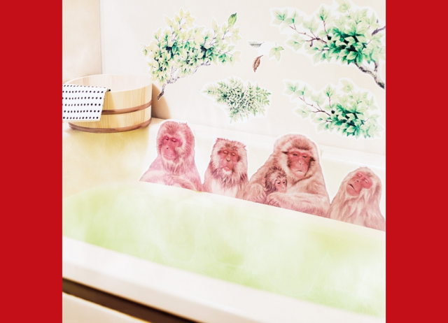 Bathe with Japan's famous hot spring monkeys in the comfort of your home with these tub stickers
