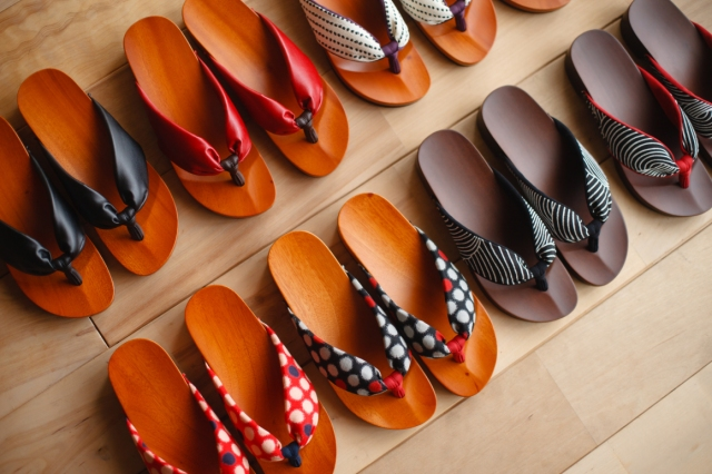Traditional Japanese wooden footwear redesigned as indoor slippers to keep feet comfy and cool