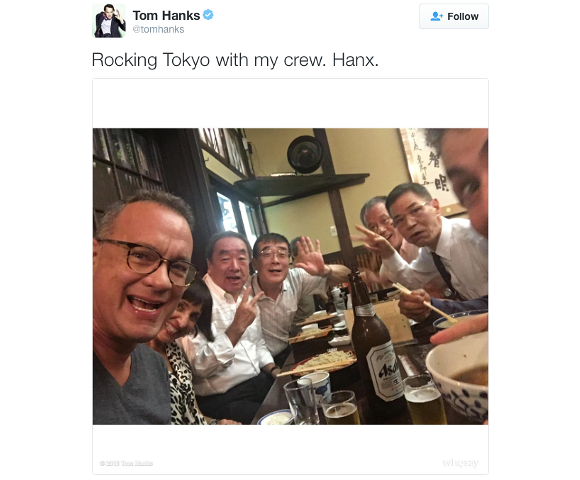 Tom Hanks visits Japan, blends in with oyaji at restaurant in Tokyo