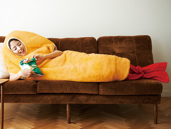 Laze about the house like a piece of tempura with the Fried Prawn Wearable Sleeping Bag!