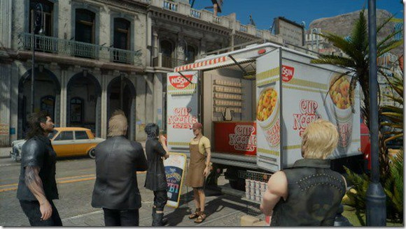 Final Fantasy XV Guys Chill Out with Nissin Cup Noodles