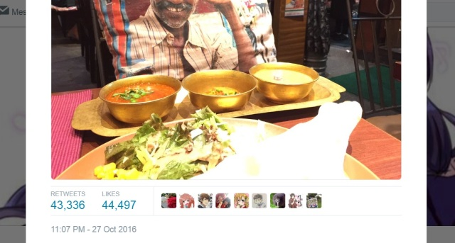 Lone Japanese diner at Indian restaurant gets a special lunch guest from wait staff