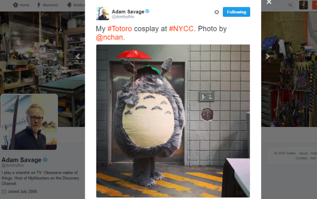 Adam Savage, co-host of TV show Mythbusters, cosplayed at New York Comic Con as Totoro 【Video】
