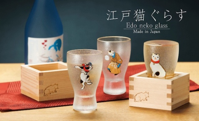These delicate sake glasses decorated with ukiyo-e style cat art are simply delightful