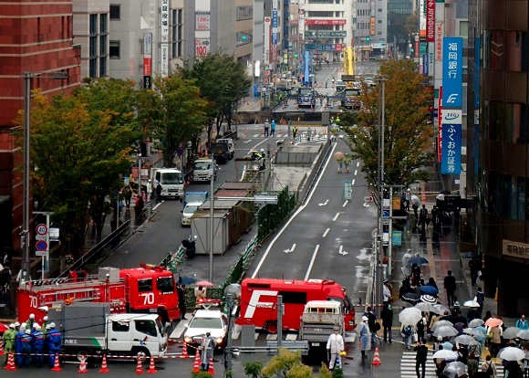 Fukuoka City aims to resume traffic at site of road collapse less than a week after accident
