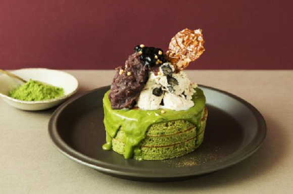 Matcha pancakes with green tea chocolate cream glaze now on the menu at Japanese cafe