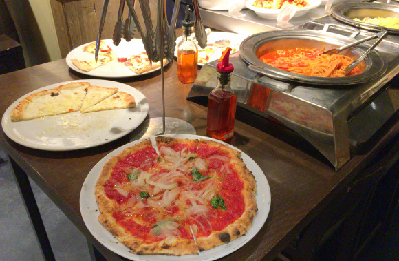 Salvatore Cuomo restaurants are offering an all-you-can-eat pizza & pasta lunch buffet for cheap