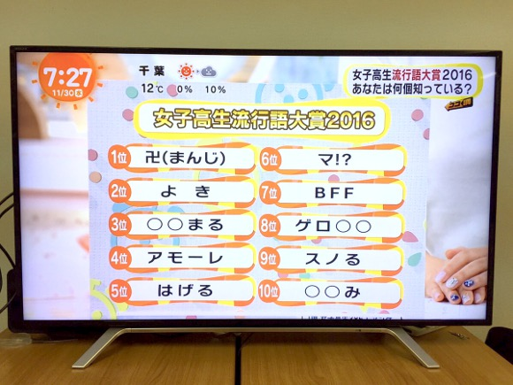 Buzzword Awards: Top 10 buzzwords used by Japanese high school girls in 2016