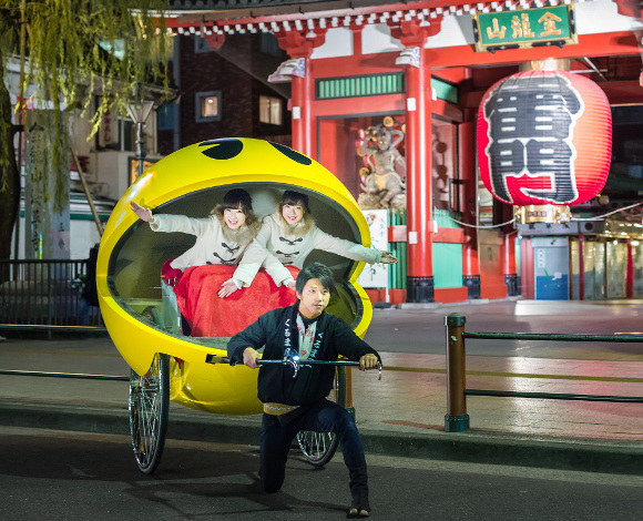 Pac-Man rickshaw rides available for a limited time around Asakusa's famous Senso-ji temple
