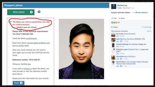 """Eyes are closed"": Asian man's passport photo denied"