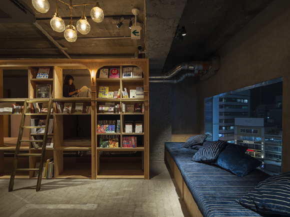 "Tokyo's ""bookstore hotel"" adds a bar for travelers who love reading and drinking"