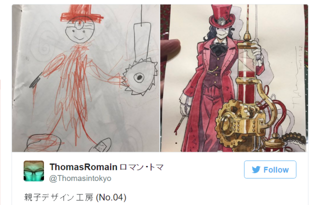 Anime artist dad turns young sons' sketches into awesome animation character designs