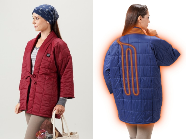Heater-equipped hanten Japanese jackets mix modern technology and traditional winter fashion