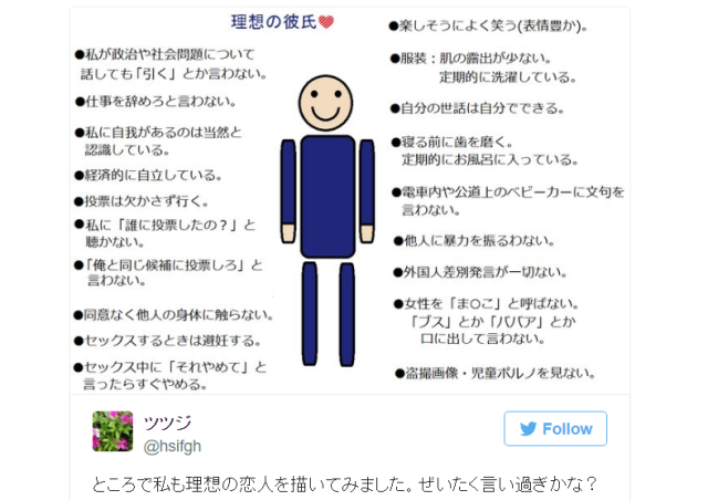 Japanese Twitter user's description of the ideal boyfriend is refreshingly reasonable