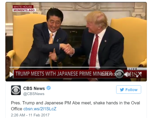 Prime Minister Abe and President Donald Trump lock gazes in long, awkward handshake【Video】