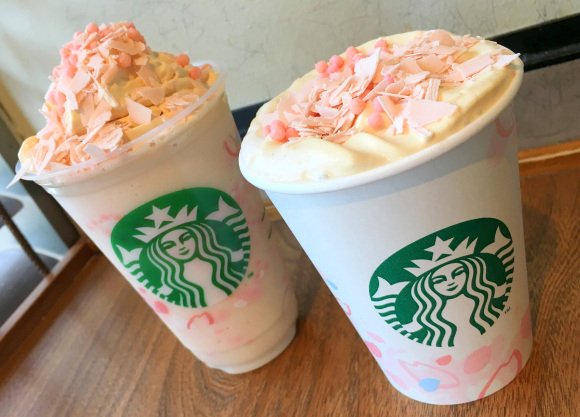 We try the new Sakura Blossom Cream Frappuccino and Latte from Starbucks Japan