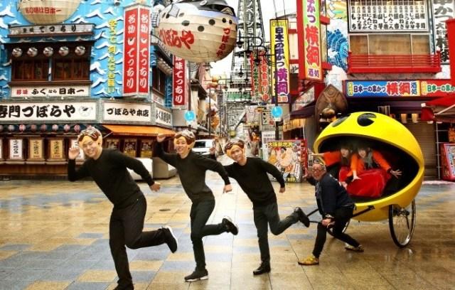 Pac-Man rickshaw is back! This time to eat in Osaka's Shinsekai district