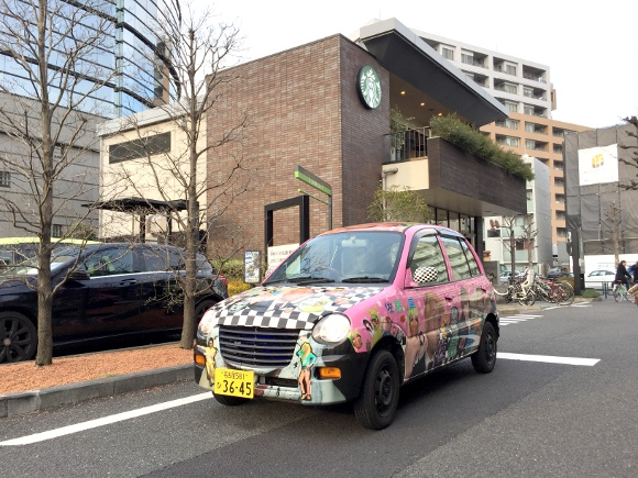 "The Mr. Sato Car takes part in the trendy ""Itasha de Starbucks"" movement"