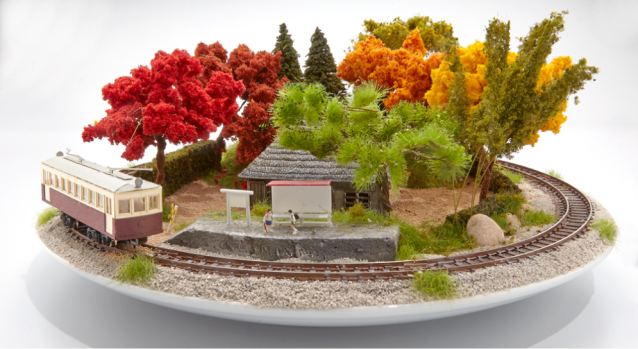 Bonrama combines Japanese bonsai-style scenery and railroad tracks to spiff up your room