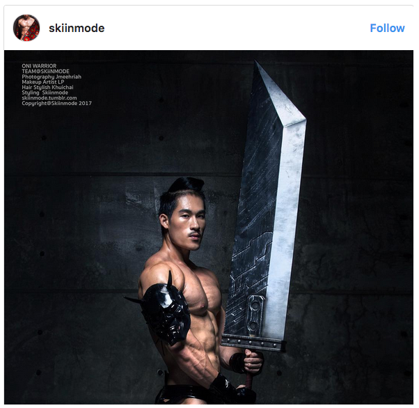 Asian muscle men featured in steamy photos with cultural flavor