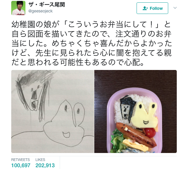 Japanese dad turns daughter's illustration into her bento lunch