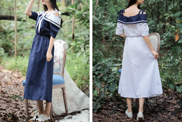 Off-the-shoulder schoolgirl dresses look like something Japan would love, but it didn't make them