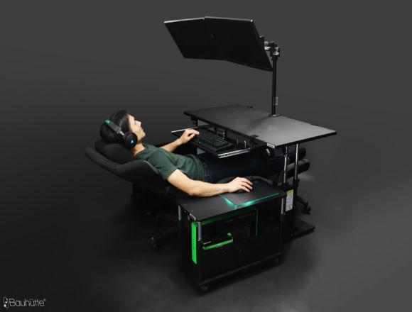 Crazy cockpit desk configuration is every lazy gamer's dream come true