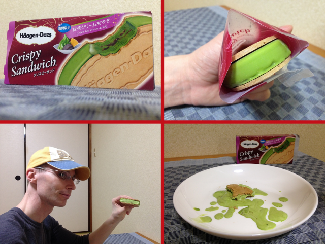 Häagen-Dazs' new azuki matcha ice cream sandwich: tastes great, so messy it can resemble roadkill