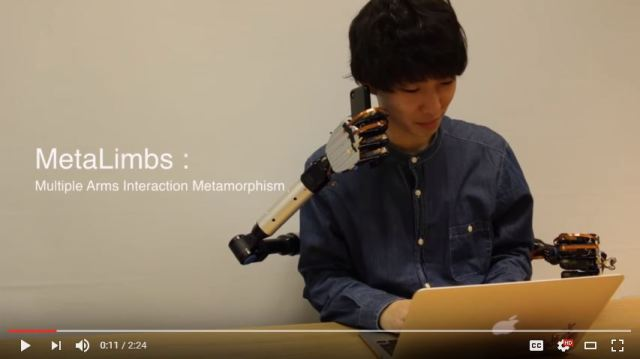 Japanese lab develops wearable robot arms controlled by feet
